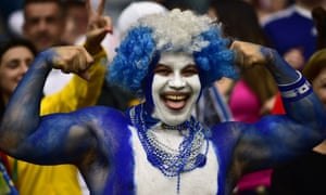 A Honduran fan smiles prior to a Group E football match between France and Honduras at the Beira-Rio Stadium in Porto Alegre during the 2014 FIFA World Cup.