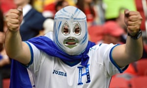 A fan from Honduras shows off his outfit before the group E World Cup soccer match between France and Honduras at the Estadio Beira-Rio in Porto Alegre, Brazil.