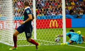 France's Karim Benzema watches as the Honduras keeper fails to keep the ball out.