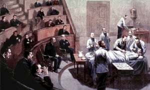 William T.G. Morton giving the first public demonstration of ether anaesthesia in Boston in 1846.