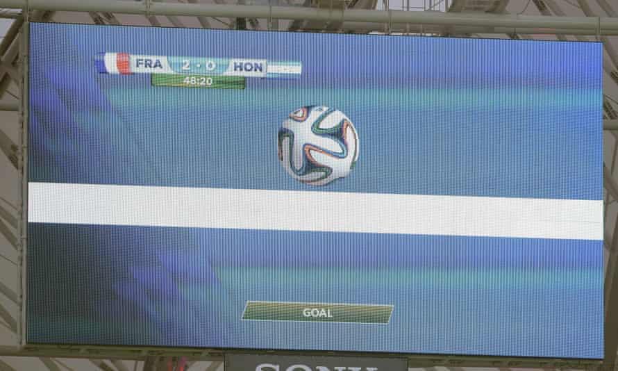 goalline technology reporting a goal on a big screen