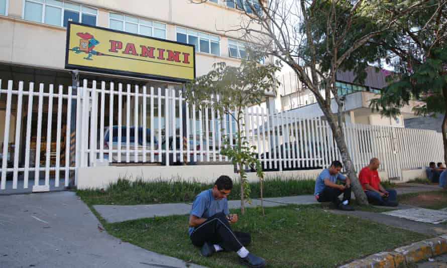 Workers taking a lunchtime break at the Panini factory.