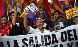 Republican protesters march in Madrid this month.
