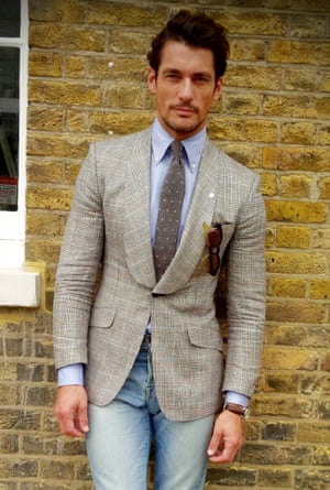 What I am wearing, David Gandy... Jacket - M&S Best of British Shirt - Thom Sweeney Tie - Club Monaco Jeans - Lucky Brand Shoe - Lanvin Handkerchief - J crew London Men's Fashion Week SS15, Day 2, 16th June 2014 lcmplog