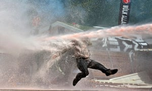 Soon coming to London? Turkish police turn water cannon on protesters in Istanbul last year.