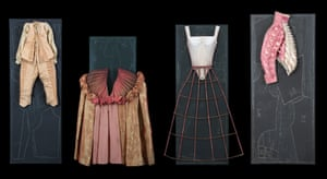 Costumes on wood panels by Virginie Merlin for The Taming of the Shrew, directed by Oskaras Korsunovas, Comédie-Française, 2007.