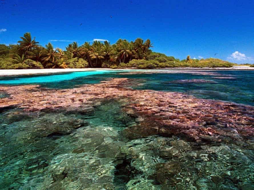 Reef of the Millennium Island, Republic of Kiribati,  south pacific island