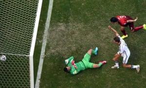 Thomas Mueller celebrates scoring the third for Germany.
