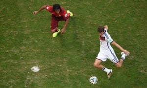 Germany's Thomas Mueller scores his side's third goal.