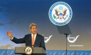 Secretary of State John Kerry addresses the Our Ocean conference, Monday, June 16, 2014, at the State Department in Washington.