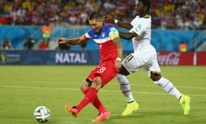 Clint Dempsey of the United States scores in the first minute.