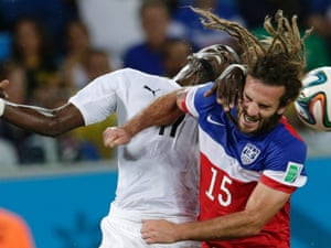 Ghana's Mohammed Rabiu and United States' Kyle Beckerman battle to head the ball.