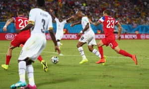 Andre Ayew of Ghana breaks through to score his team's first goal.