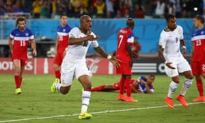 Andre Ayew of Ghana celebrates after scoring.