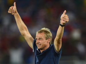 Jurgen Klinsmann of the United States celebrates his team 2-1 victory over Ghana.