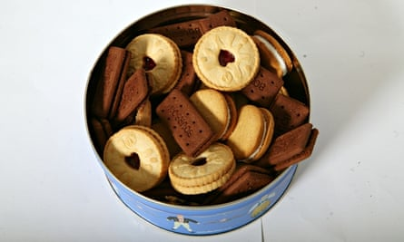 A tin of assorted biscuits