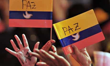 Supporters of Colombian president Juan Manuel Santos celebrate his victory in June 2014