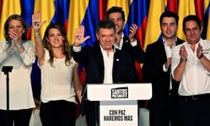 Colombia's presidential candidate Juan Manuel Santos celebrates victory in June 2014
