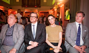 Brian Cox (left), Colin and Livia Firth (centre) ready for the ceremony to start