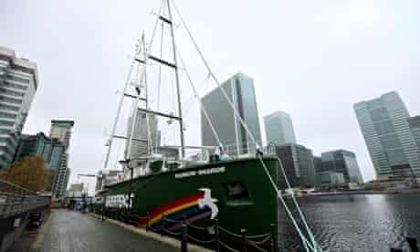 Greenpeace's ship The Rainbow Warrior III pictured in London