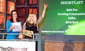 Jo Wood presenting the award of Retailer of the Year, Observer Ethical Awards 2014