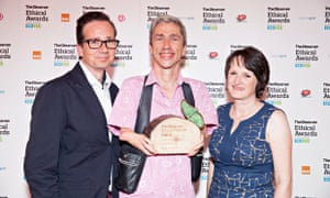 Mat Fraser with his trophy for the Arts and Culture award, Observer Ethical Awards 2014
