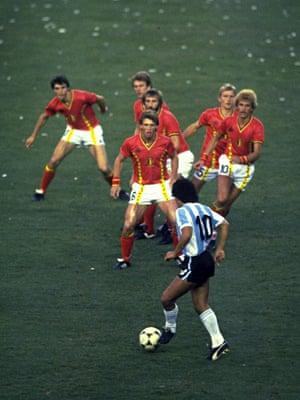 Diego Maradona plays against Belgium in 1982