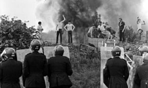 Pickets face riot police at Orgreave coking plant during the miners' strike in 1984.