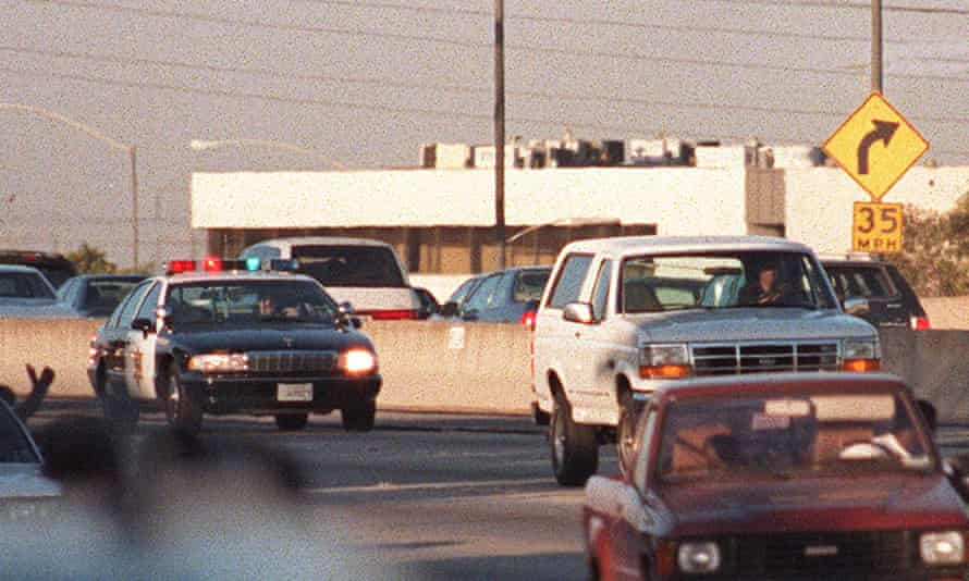 The Ford Bronco carrying fugitive and murder suspect OJ Simpson on a 90 minutes chase on Los Angeles freeway.