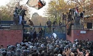 The UK embassy in Tehran under siege during an anti-British demonstration in November 2011