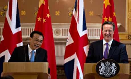 Chinese premier Li Keqiang and Britain's David Cameron