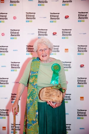 Anne Power with her trophy for the Local Hero, Observer Ethical Awards 2014
