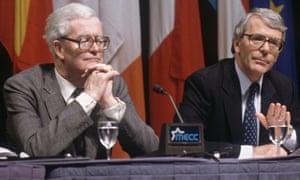 John Major with Douglas Hurd at the Maastricht summit in 1991