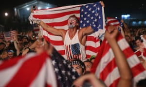 American fans on Copacabana beach