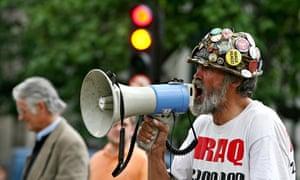 Peace protester Brian Haw in Parliament Square.