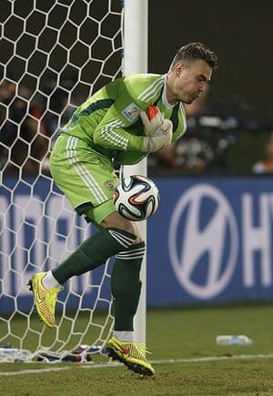 Akinfeevs howlers: Russia's goalkeeper Igor Akinfeev fails to catch the ball