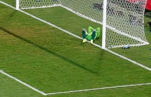 Akinfeevs howlers: Russia's goalkeeper Igor Akinfeev reacts