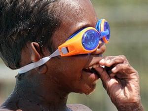 A child at the Yuendumu swimming pool