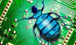 smartphone malware bug on a circuit board