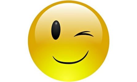 A winking, smiling emoticon