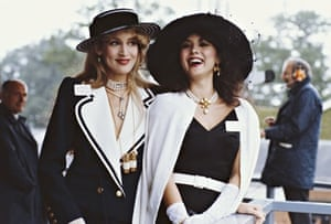"""Marie Helvin and Jerry Hall at Ascot"""