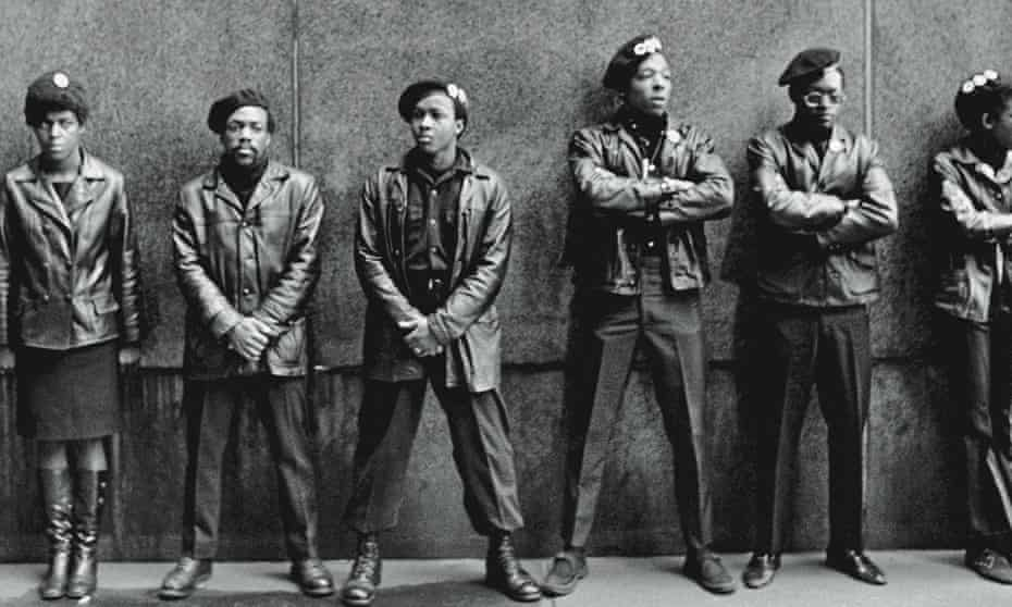 Black Panther Party members outside the New York City courthouse in April 1969.