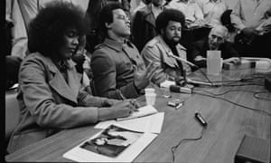Black Panther Party leader Huey P Newton holds a press conference on his return from China where he met with Chinese leader Chou En Lai.