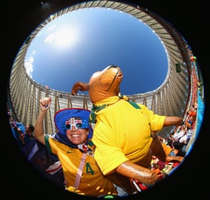 An Australia fan enjoys the atmosphere prior to the match.