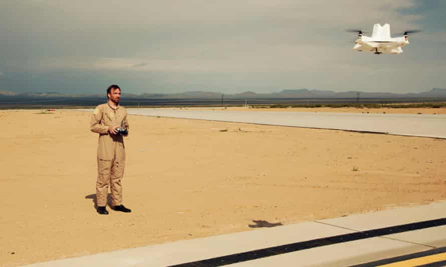 Liam Young flys a drone at White Sands Missile Range, US.