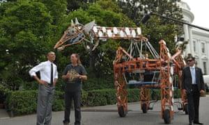 barack obama robotic giraffe maker faire
