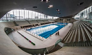 The swooping curves of Zaha Hadid's Aquatics Centre at the Olympic Park in London.