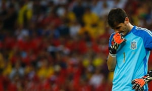 Iker Casillas reacts during Spain's match against Chile.