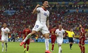 Chile's Charles Aranguiz celebrates scoring his side's second goal.