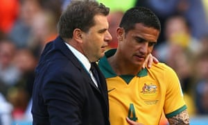 Ange Postecoglou and Tim Cahill